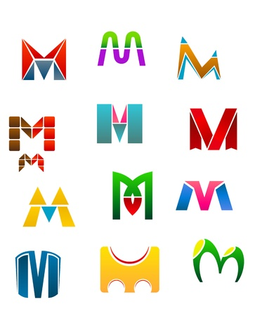 Set of alphabet symbols of letter M Vector