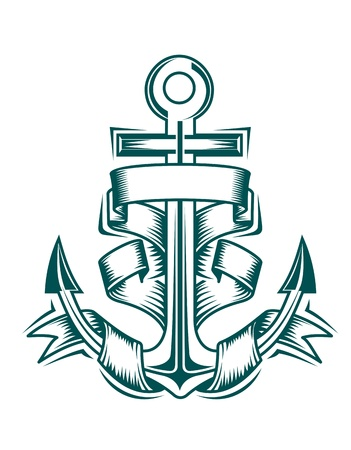insignias: Ancient anchor with ribbons for heraldic design