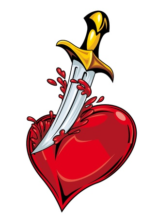 sword and heart: Heart with sword and blood for tattoo design Illustration