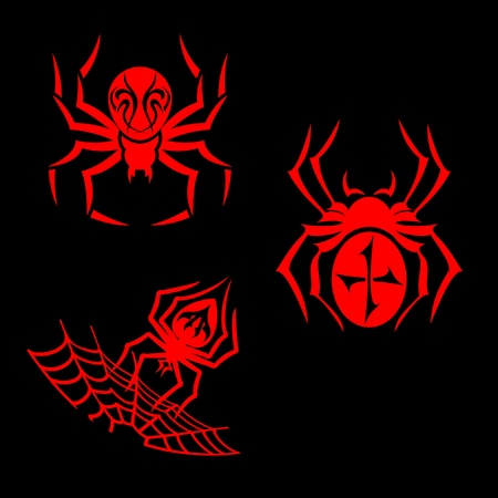 Set of spiders for tribal tattoo design Vector