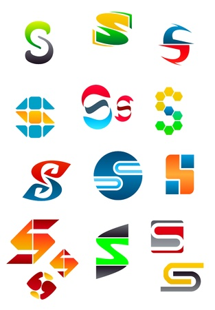 Set of alphabet symbols and elements of letter S Vector