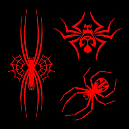 spider net: Set of spiders for tribal tattoo design