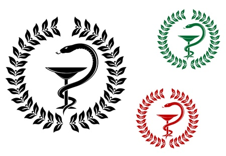 Medicine symbol - snake on cup in laurel wreath Vector