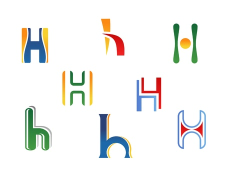 Set of alphabet symbols and elements of letter H Vector