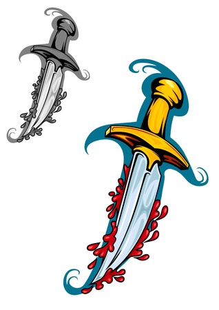 sword and heart: Sword with blood in cartoon style for tattoo design