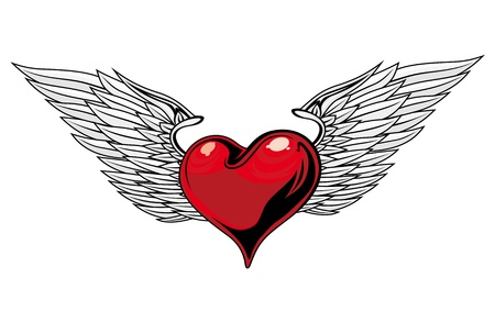 heart with wings: Retro Red Heart With Wings For Tattoo Design Illustration
