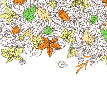 Autumn Leaves Silhouettes Background For Seasonal or Thanksgiving Design Vector