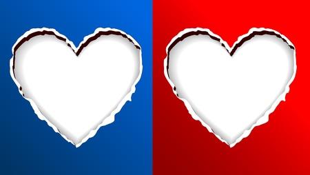 torn heart: Heart Shape On Torn Paper For Background Design