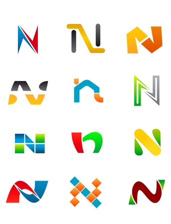Set Of Alphabet Symbols And Elements Of Letter N Vector