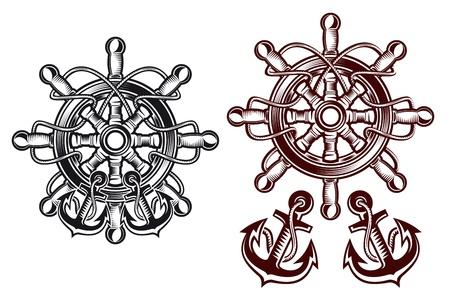 roer: Schip stuurwiel voor heraldische ontwerp met ankers Stock Illustratie