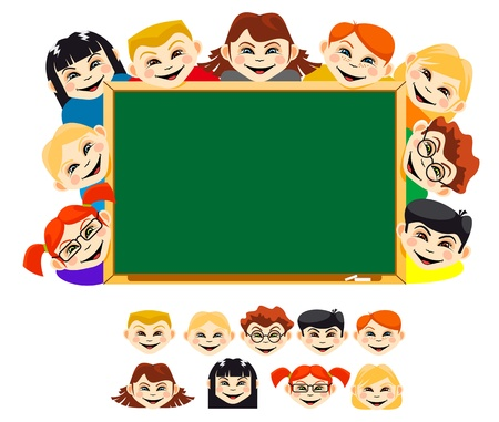 Smiling childrens near blackboard for education design Vector