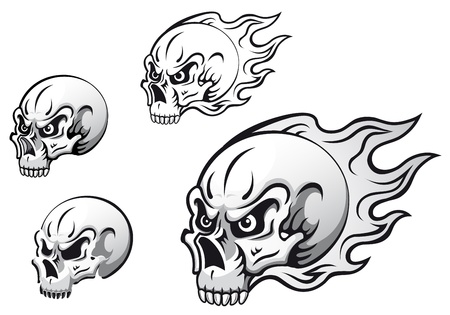 Danger evil skulls with flames as a tattoos isolated on white background Vector