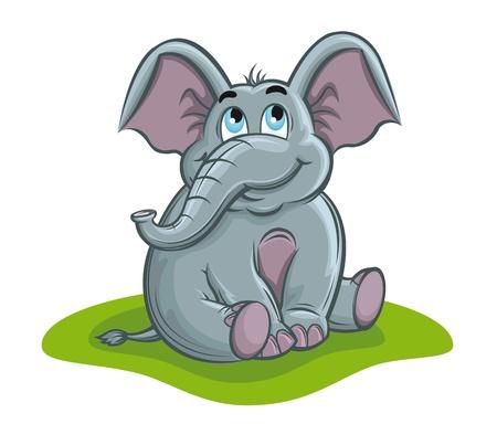elephant cartoon: Baby elefante carino in stile cartone animato per il design Vettoriali