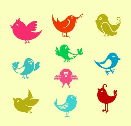 simbolo della pace: Set di icone cartoon doodle uccelli per la progettazione di reti di comunicazione