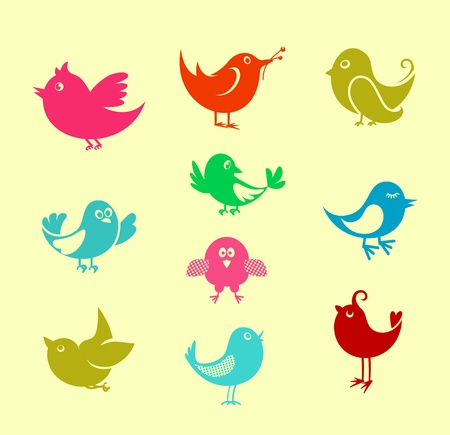 Set of cartoon doodle birds icons for communication networks design Vector