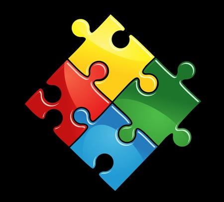 Piezas de puzzle para la conexión o integración de diseño abstracto