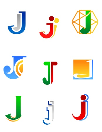 Set of alphabet symbols and elements of letter J Vector