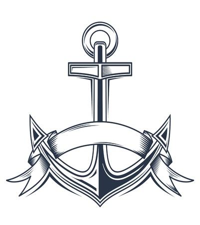ancre marine: Ancrage de cru avec des rubans pour la conception h�raldiques