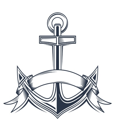 navy ship: Vintage anchor with ribbons for heraldic design Illustration