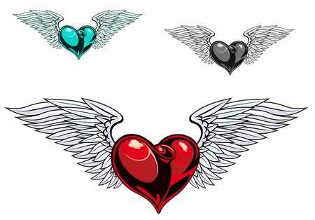 Retro color heart with wings for tattoo design Vector