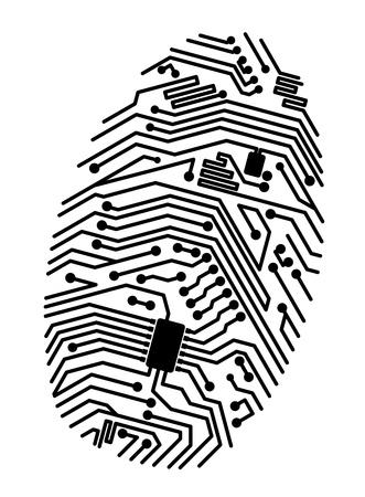 computer network: Motherboard fingerprint for security or computer concept design Illustration
