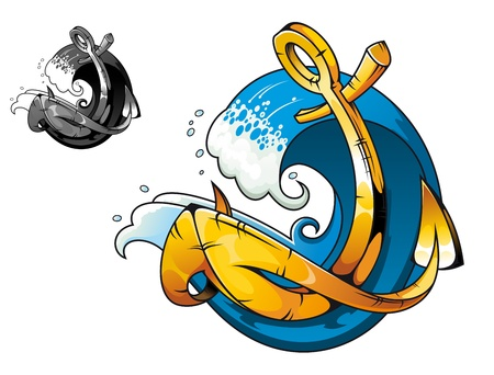 cruise cartoon: Cartoon vintage anchor in sea water for tattoo design