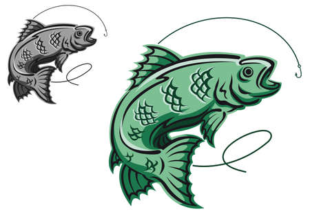 Jumping fish as a fishing symbol isolated on white background Vector