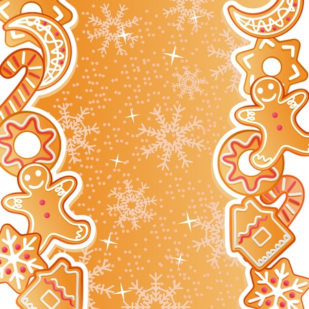 christmas cookie: Gingerbread background for christmas or new year holiday design