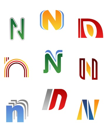 letter n: Set of alphabet symbols and elements of letter N Illustration