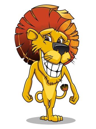 of lions: Le�n sonriente lindo en el estilo de dibujos animados para el dise�o de la mascota Vectores