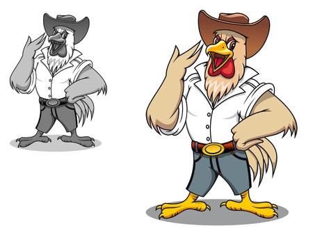aves de corral: Poder de gallo en el estilo de dibujos animados para la agricultura de dise�o