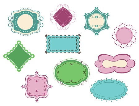 Doodle frames and borders set  for design Vector