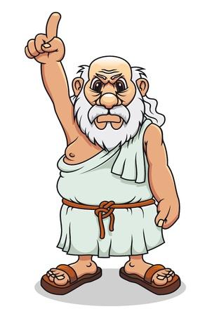 antigua grecia: Hombre griego antiguo en el estilo de dibujos animados de diseño de comics