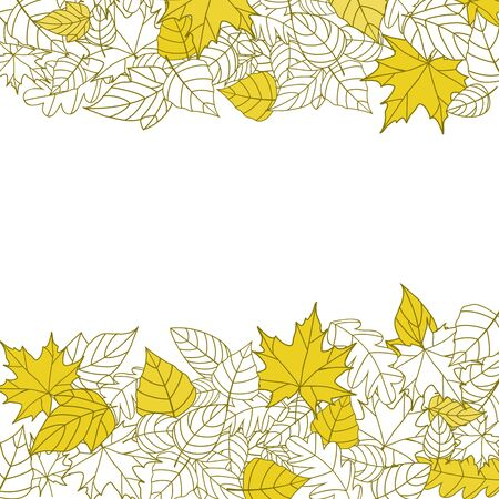 Yellow Autumn Leaves Silhouettes Background For Seasonal Or Thanksgiving Design Stock Vector - 10692924