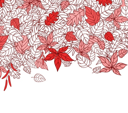 Red Autumn Leaves Silhouettes Background For Seasonal Or Thanksgiving Design Stock Vector - 10692925