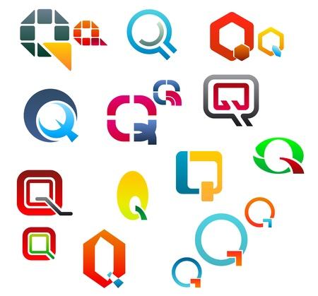 Set of alphabet symbols and elements of letter Q Vector
