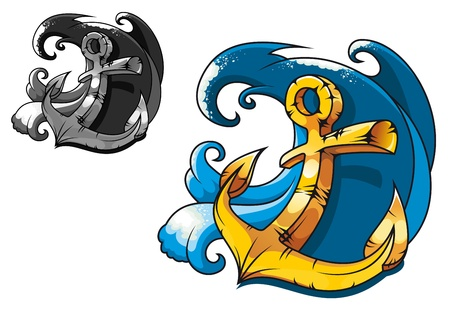 naval: Cartoon vintage anchor in sea water for tattoo design