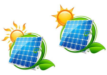 solar symbol: Solar energy panel icon with sun and green leaves for ecology or innovation concept