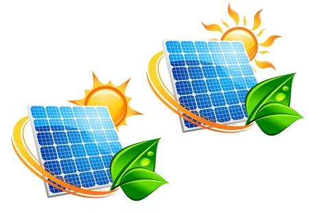 поколение: Солнечная энергия панели иконки с солнцем и зеленых листьев для экологии концепция