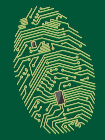 autorizacion: Color de la placa base de huellas digitales para la seguridad o el concepto de dise�o inform�tico