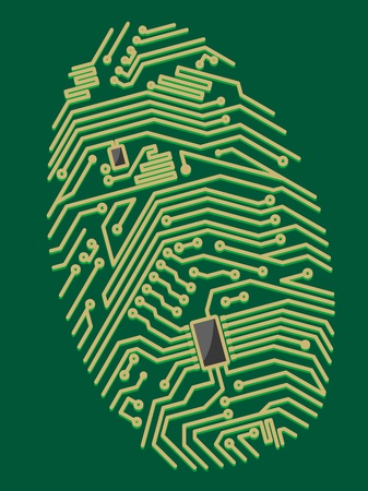 Color motherboard fingerprint for security or computer concept design Vector