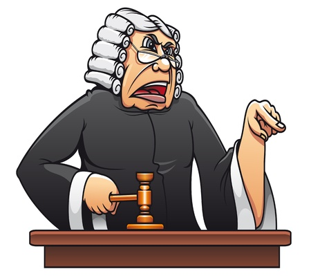 litigation: Judge with gavel for law concept design in cartoon style