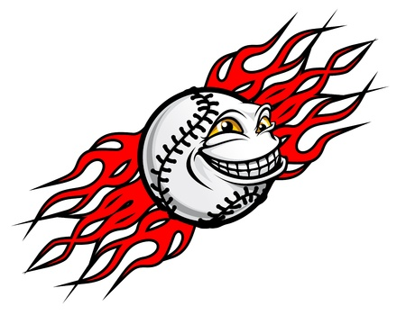 Flying funny baseball ball with fire flames for tattoo design Vector