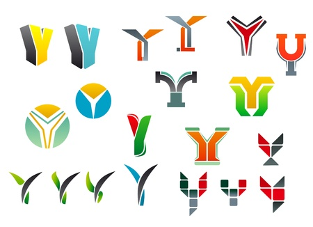 Set of alphabet symbols and elements of letter Y Vector