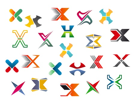 Set of alphabet symbols and elements of letter X Vector