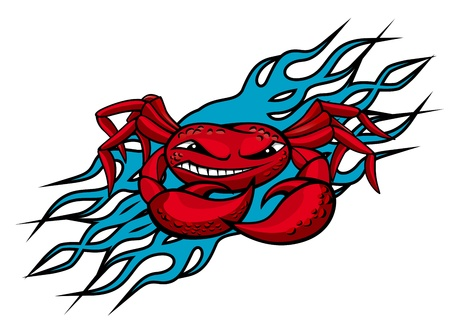 Cardinal crab with claws on blue flames for tattoo design Vector