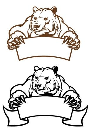 grizzly: Ours sauvages de kodiak avec la bannière comme une mascotte isolée sur fond blanc