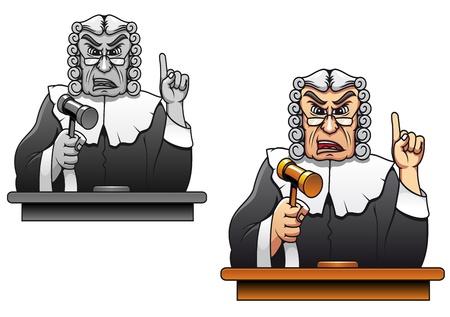 mandato judicial: Juez con el martillo para el dise�o de la ley el concepto de estilo de dibujos animados Vectores
