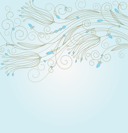 Blue abstract floral background for textile or invitation card design Stock Vector - 10915355