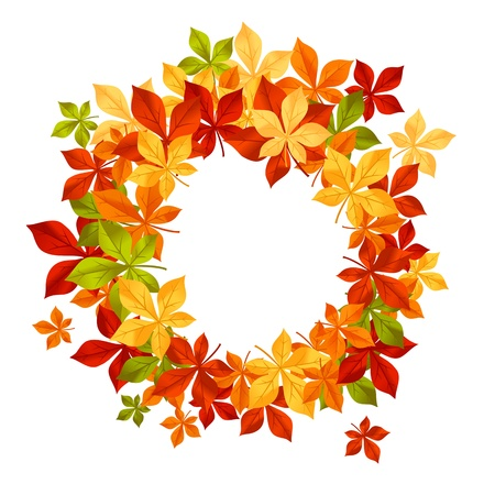 Autumn falling leaves in frame for seasonal or thanksgiving design Vector